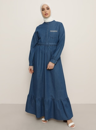 Blue - Crew neck - Unlined - Denim -  - Dress
