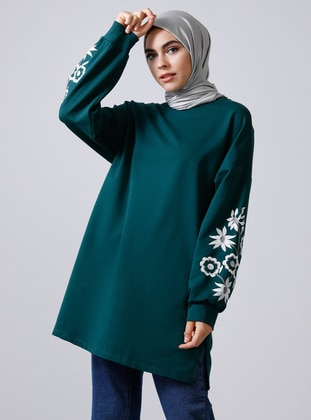 Green - Emerald - Crew neck -  - Tunic