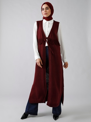 Maroon - Unlined - Shawl Collar - V neck Collar - Acrylic -  - Vest