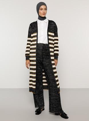 Silver tone - Black - Stripe - Unlined - Acrylic - - Suit