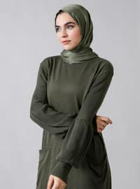 Khaki - Crew neck - Unlined - Acrylic -  - Dress
