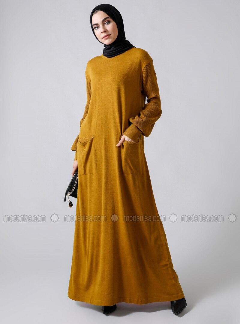 Mustard - Crew neck - Unlined - Acrylic -  - Dress