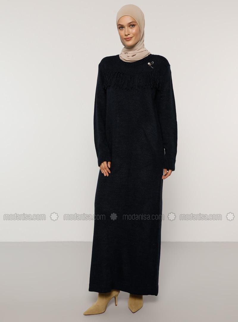Indigo - Crew neck - Unlined - Acrylic - - Dress
