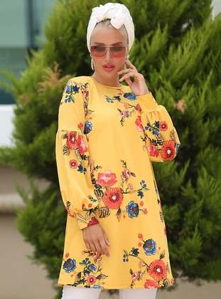 Coral - Mustard - Floral - Crew neck - Tunic
