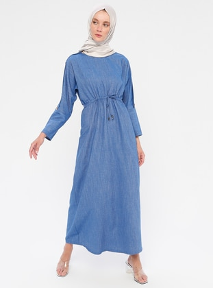 Blue - Crew neck - Unlined - Cotton - Dress