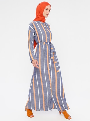Blue - Mustard - Stripe - Point Collar - Unlined - Viscose - Dress