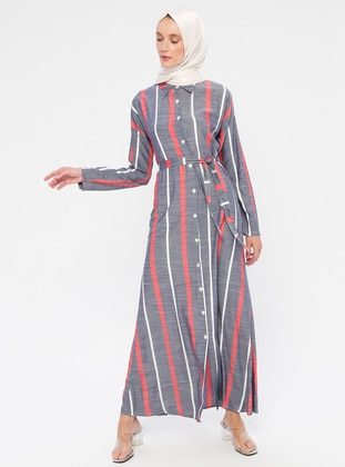Red - Navy Blue - Stripe - Point Collar - Unlined - Viscose - Dress