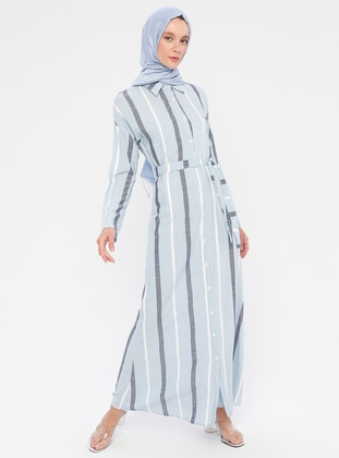 Blue - Stripe - Point Collar - Unlined - Viscose - Dress