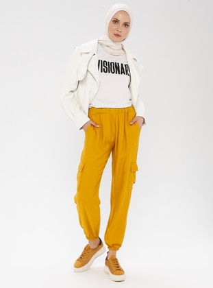 Mustard - Yellow -  - Viscose - Pants