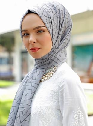 Gray - Printed - Shawl - Şal Evi