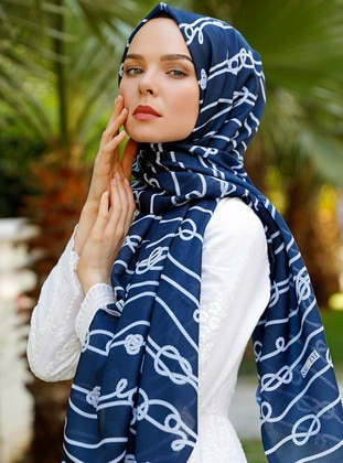 Navy Blue - Printed - Shawl - Şal Evi