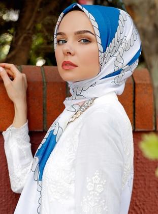 White - Saxe - Printed - Shawl - Şal Evi