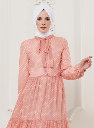 Rose - Polka Dot - Crew neck - Fully Lined - Viscose - Dress