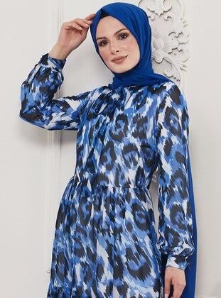 Saxe - Leopard - Multi - Crew neck - Unlined - Viscose - Dress