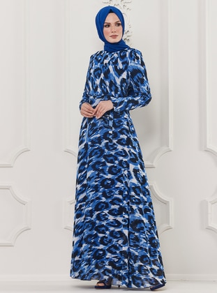 Saxe - Leopard - Multi - Crew neck - Fully Lined - Viscose - Dress
