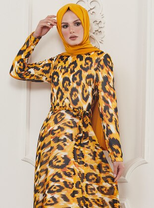 Yellow - Leopard - Multi - Crew neck - Fully Lined - Viscose - Dress