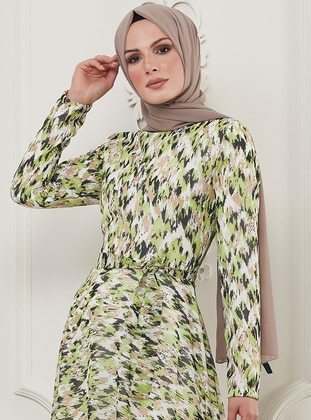 Green - Leopard - Multi - Crew neck - Fully Lined - Viscose - Dress