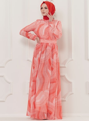 Coral - Multi - Crew neck - Fully Lined - Viscose - Dress