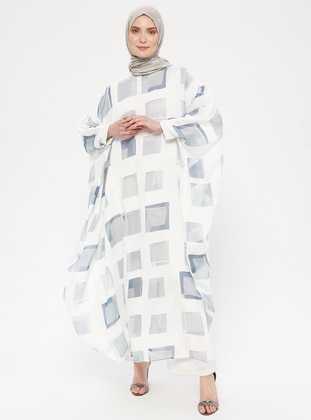 Blue - Gray - Checkered - Unlined - Crew neck - Abaya