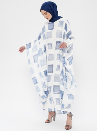Blue - Navy Blue - Checkered - Unlined - Crew neck - Abaya