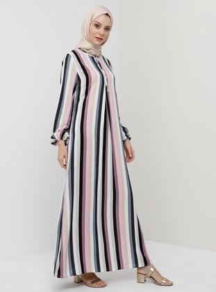 Gray - Multi - Dusty Rose - Stripe - Crew neck - Unlined - Viscose - Dress