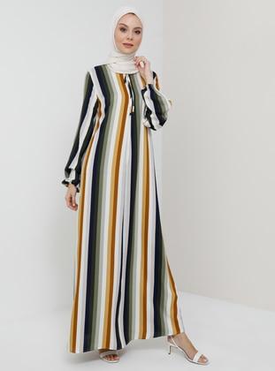 Multi - Khaki - Mustard - Stripe - Crew neck - Unlined - Viscose - Dress