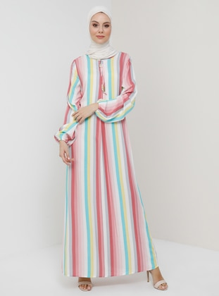 White - Pink - Stripe - Crew neck - Unlined - Viscose - Dress
