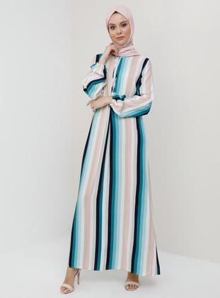 Turquoise -  - Stripe - Crew neck - Unlined - Viscose - Dress
