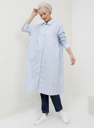 Blue - Multi - Point Collar - Cotton - Tunic