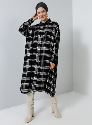 Black - Plaid - Point Collar - Cotton - Tunic