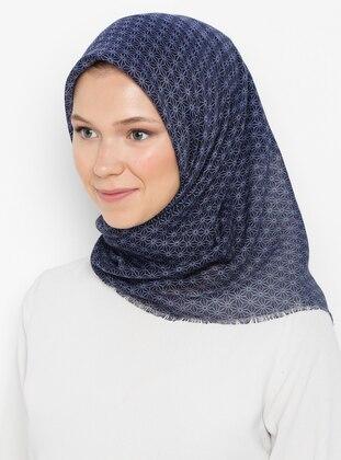 Navy Blue - Printed - Plain - Cotton - Scarf
