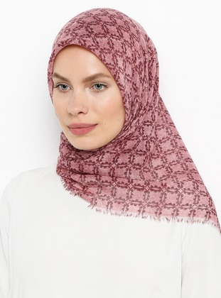 Pink - Printed - Plain - Cotton - Scarf