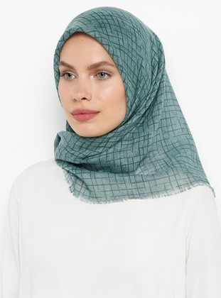 Petrol - Printed - Plain - Cotton - Scarf