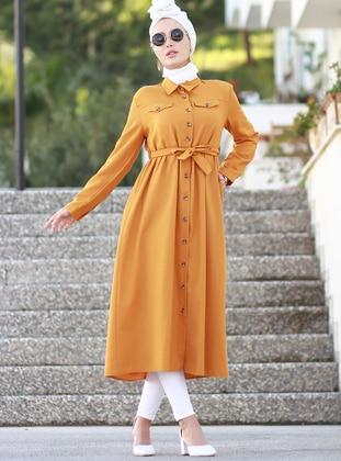 Mustard - Polo - Unlined - Acrylic - Dress