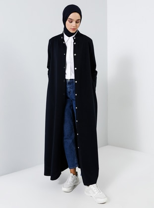 Navy Blue - Unlined - Crew neck -  - Topcoat - Everyday Basic