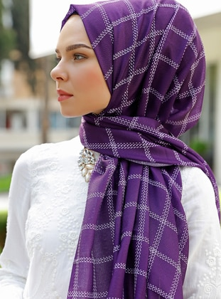 Purple - Plaid - Shawl - Şal Evi