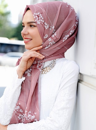 Dusty Rose - Floral - Shawl - Şal Evi