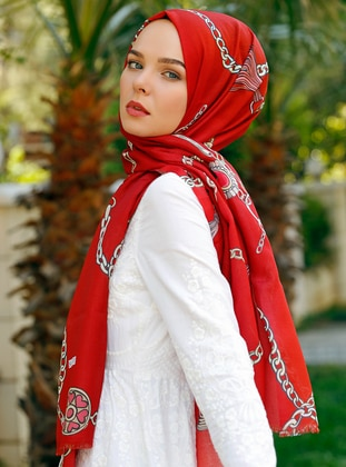 Red - Printed - Shawl - Şal Evi