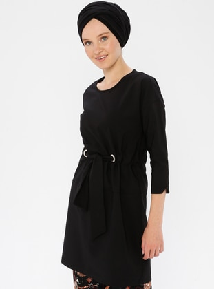 Black - Crew neck - Unlined -  - Dress