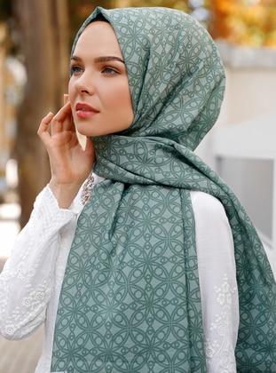 Green Almond - Printed - Shawl - Şal Evi