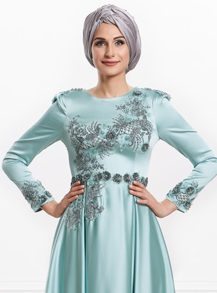Mint - Fully Lined - Crew neck - Viscose - Muslim Evening Dress