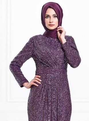 Plum - Fully Lined - Crew neck - Viscose - Muslim Evening Dress