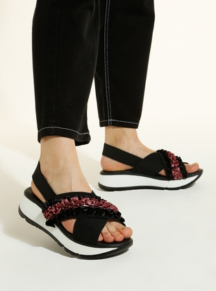 Black - Rose - Sandal - Sandal