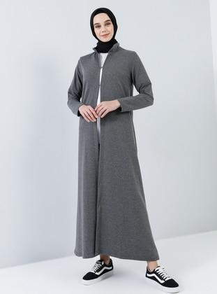 Anthracite - Unlined - Crew neck - Cotton - Topcoat - Everyday Basic