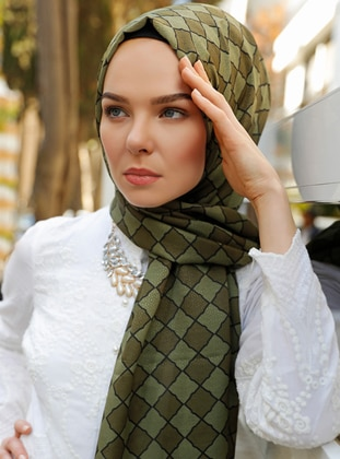 Khaki - Printed - Shawl - Şal Evi
