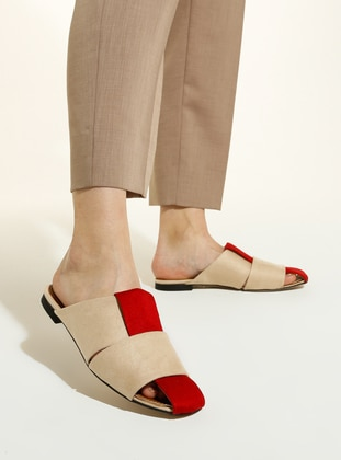 Red - Beige - Sandal - Slippers