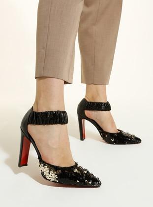 Black - Gold - High Heel - Shoes
