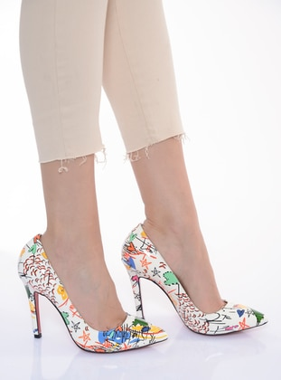 White - Multi - High Heel - Shoes - Shoestime