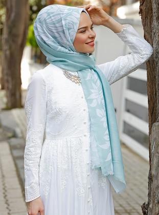Turquoise - Printed - Shawl - Şal Evi