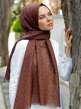 Brown - Printed - Shawl - Şal Evi